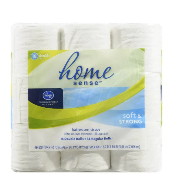 kroger home sense soft & strong bathroom tissue (18ct) – run