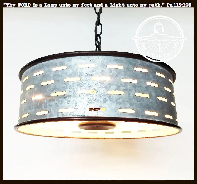 rustic chandelier light fixture of galvanized metal