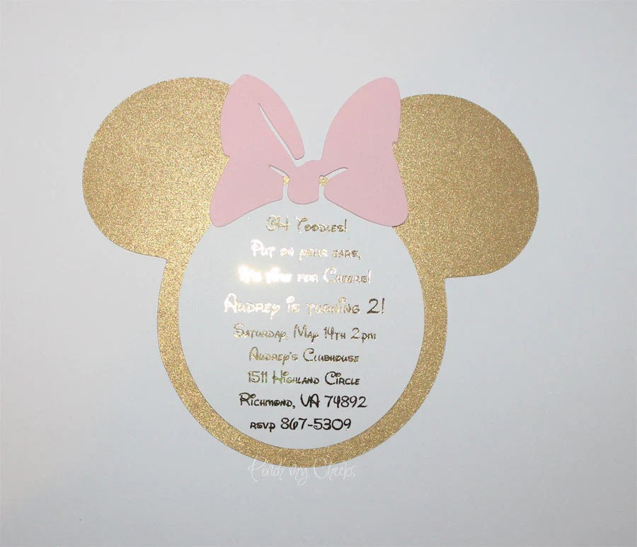 minnie mouse invitations light pink and gold foil girls 1st birthday pink and gold birthday