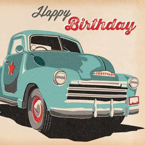 Chevy Pickup Birthday Card Pennychoo
