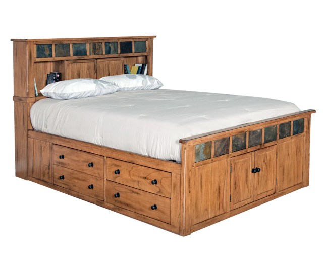 Sd 2334ro Sq Sedona Rustic Petite Storage Bed Queen Size Oak