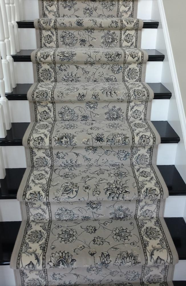 Ancient Garden Grey Stair Runner 57365 9666 26 And 31 Inch Nashua Nh | Roll Runners For Stairs | Flooring | Carpet Stair Treads | Canyon Kazmir | Persian Garden | Area Rugs