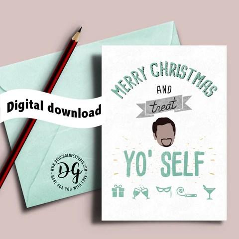 Printable Treat Yo Self Christmas Card