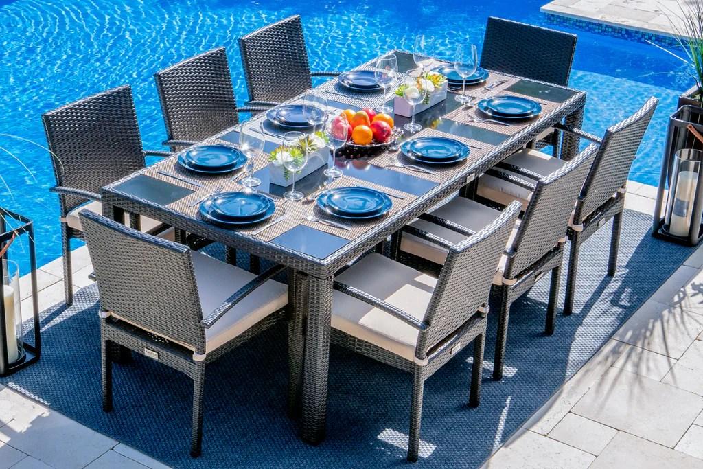 bari 9 piece outdoor dining table set in espresso brown