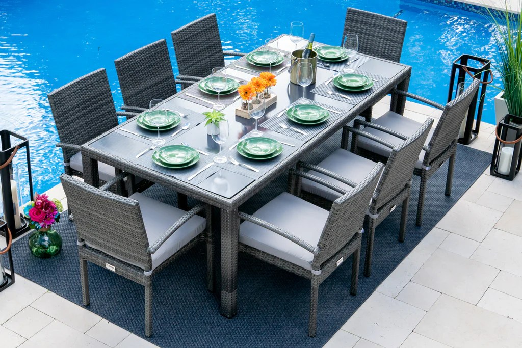 bari 9 piece outdoor dining set in mixed gray