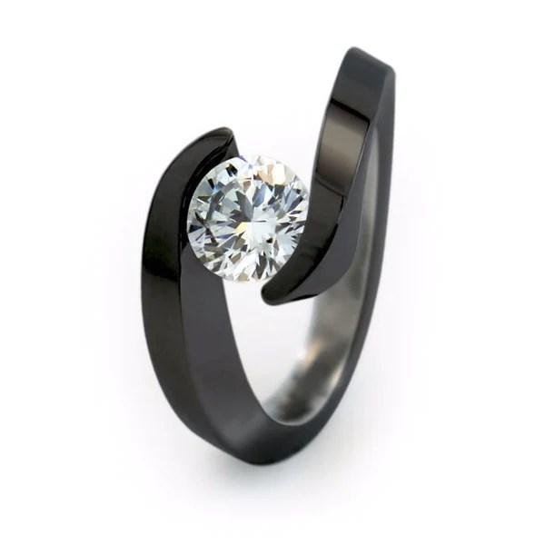 Stella Solitaire Black Titanium Engagement Ring