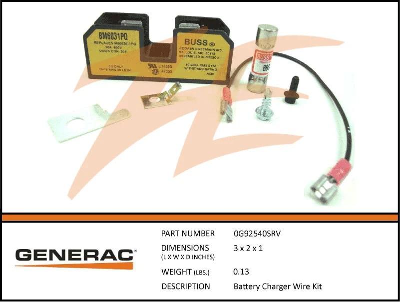 Generac 0G92540SRV Battery Charger Wiring Kit – Ziller