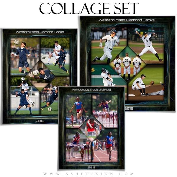 Sports Collage Set Neon Framed AsheDesign