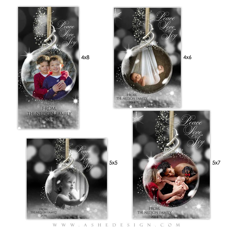 Christmas Photo Card Templates Star Dust Glass Ornament