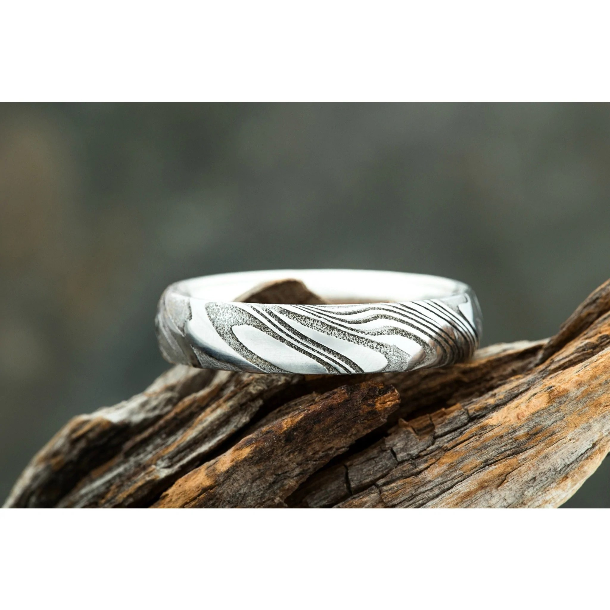 Damascus Steel Rings Damascus Collection Carbon6 Rings