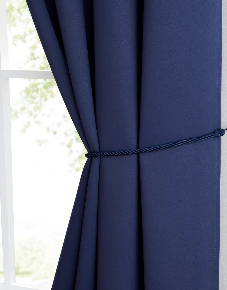 warm home designs navy blue blackout curtain panels pairs valances with tie backs in 7 sizes