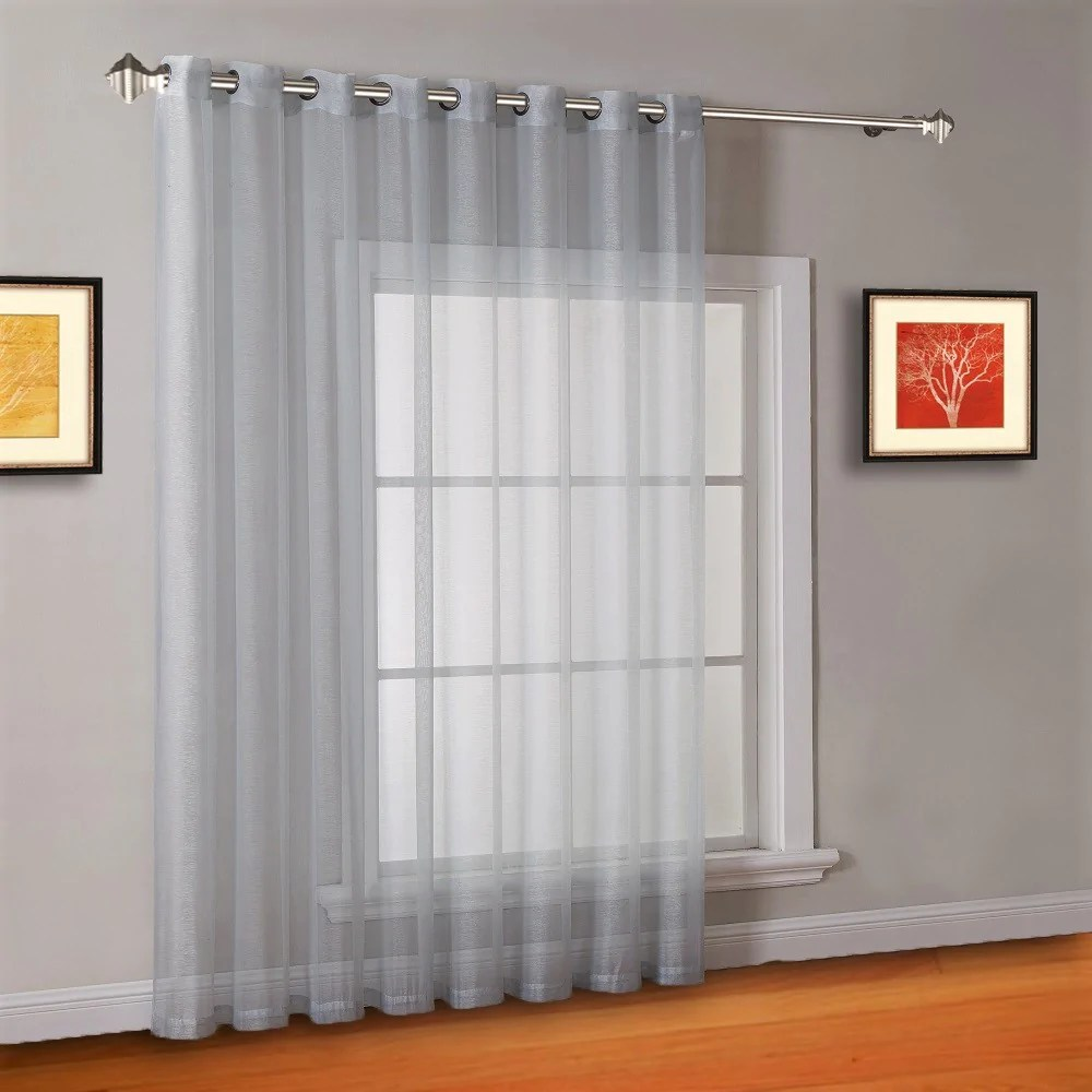 warm home designs 1 panel of 102 extra wide linen textured sheer silver patio door curtains