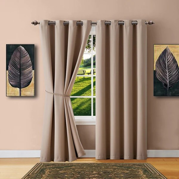 Warm Home Designs Taupe Blackout Curtains Valance Scarves Tie Backs