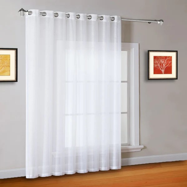 102 Quot Extra Wide Sheer White Sliding Patio Door Curtains