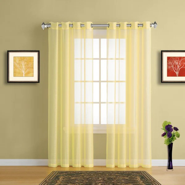 Sheer Window Curtains With Grommet Top In 19 Colors Tagged Yellow Curtains