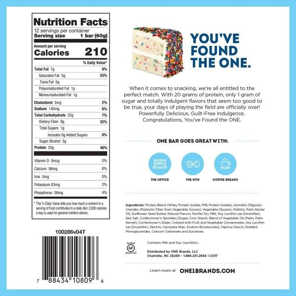 One Protein Bar Birthday Cake Protein Bars 12 Bars Proteinwise