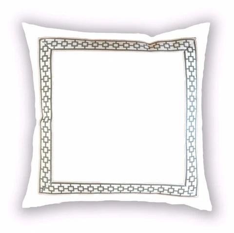 white velvet pillow cover with gray greek key trim