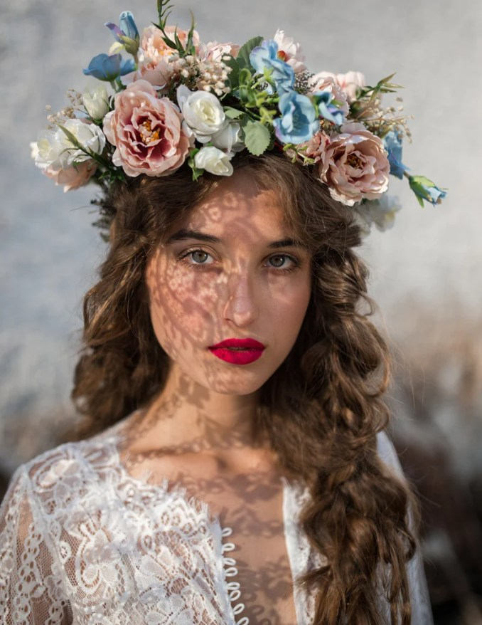 boho pastel hair wreath wedding hair crown bridal accessories romantic hair wreath hair flowers hair jewellery boda handmade corona