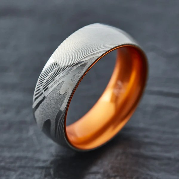 EMBR Wood Grain Damascus Steel Ring Resilient Orange