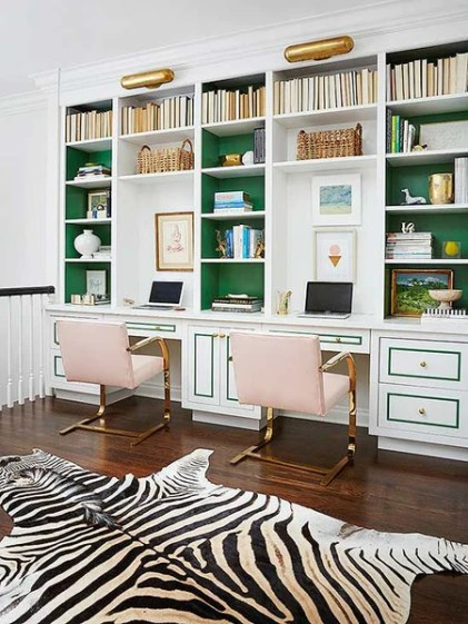 Home office with green and brass accents 2017 design trend ideas