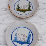 Pair Of Antique French Animal Plates Hand Painted