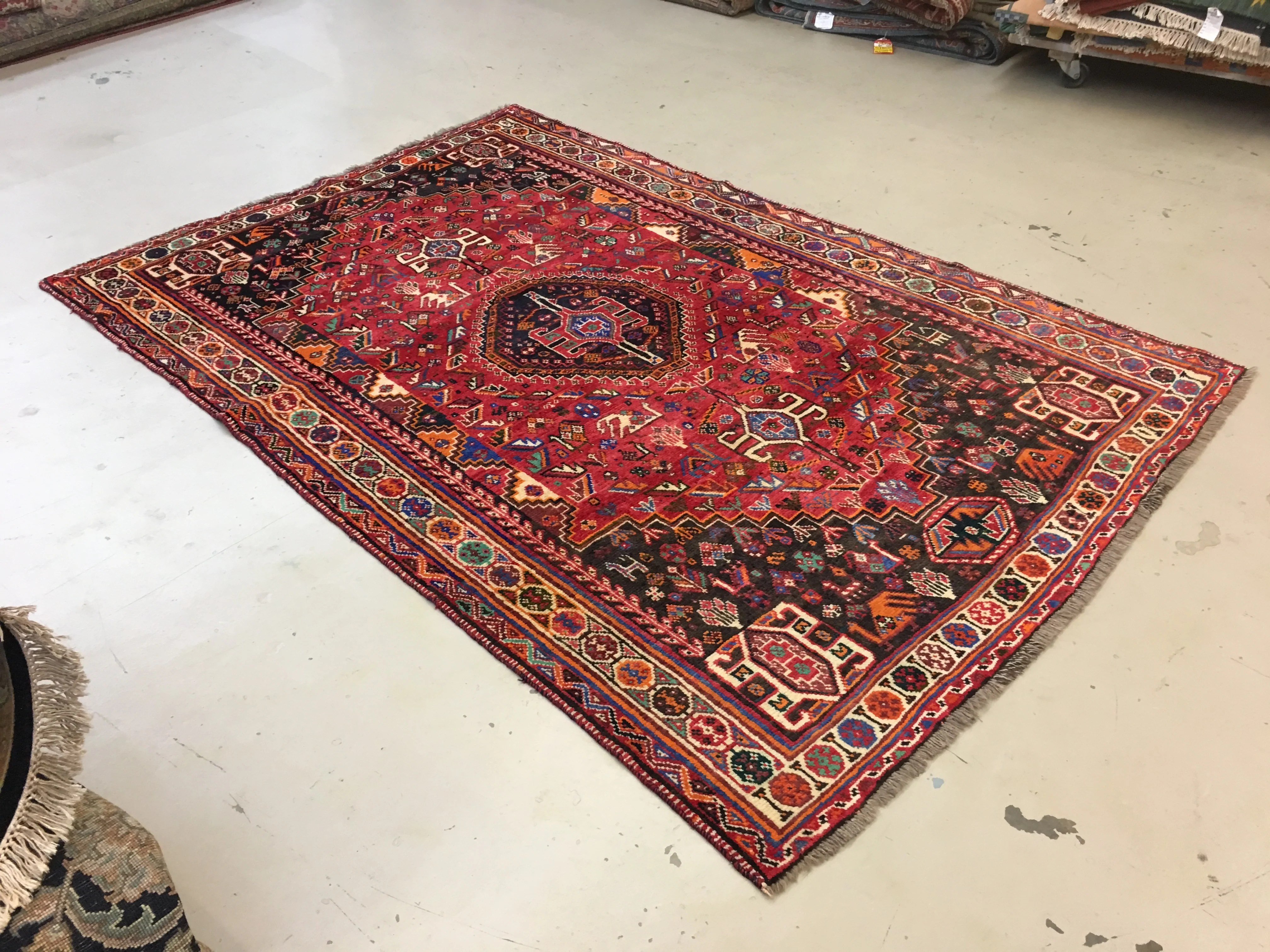 5 X8 Red Blue Geometric Rug The Golden Looms Oriental Rugs