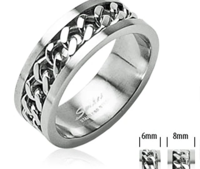Mirror Polished Stainless Steel Ring With Cuban Chain Spinning Band For Men And Women