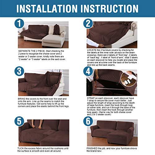 h versailtex rich velvet stretch 2 pieces l shaped sofa covers anti slip sectional sofa slipcovers with straps bottom luxury thick velvet corner sofa