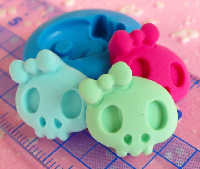 Skull Skeleton Mold Mm Flexible Silicone Mold Halloween Mold Mini Cupcake Topper Fondant Fimo Polymer Clay