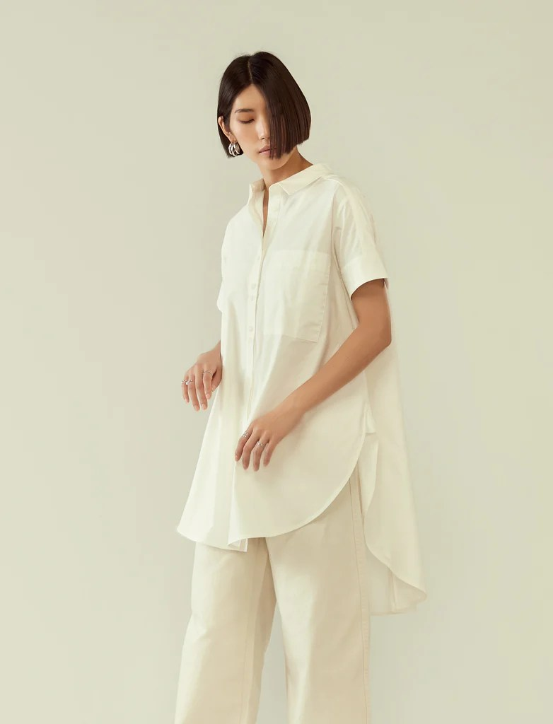 flared circular tunic shirt - white How to Dress Comfortably for the Office
