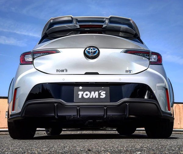 tom s racing rear bumper diffuser no exhaust outlet for 2019 toyota corolla hatchback eta mid june
