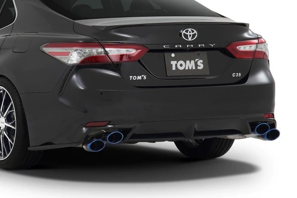 tom s racing stainless exhaust system for 2018 toyota camry titanium quad tips