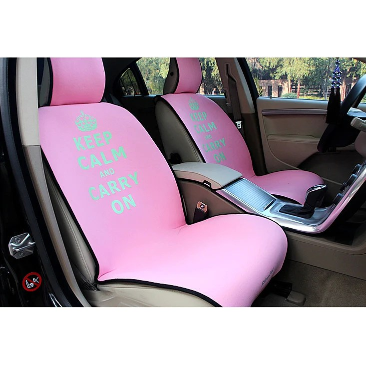 pink car seat covers keep calm and carry on