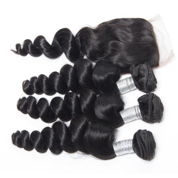 Luxury Loose Wave Bundles With A Lace Closure 14