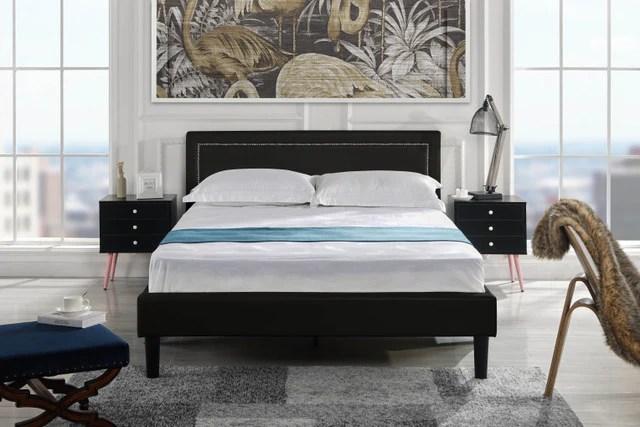 sabrina elegant nailhead trim leather bed in black
