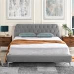 Dara Modern Tufted Bed With Tufted Velvet Headboard Dark Grey Sofamania