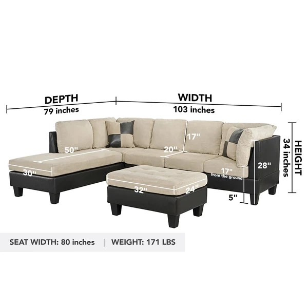 koko classic 3 piece microfiber and faux leather sectional with ottoman
