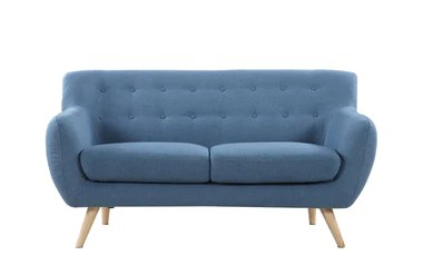 Loveseats   Loveseat Sofas   Loveseat Couches   Sofamania com Nico Mid Century Modern Fabric Loveseat Blue
