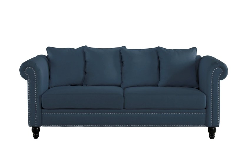 Harrington Classic Victorian-Inspired Chesterfield Linen Sofa