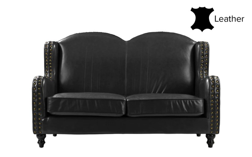 Xavier Wingback Victorian-Style Leather Match Loveseat