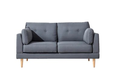 Loveseats   Loveseat Sofas   Loveseat Couches   Sofamania com Ian Mid Century Modern Loveseat In Dark Grey