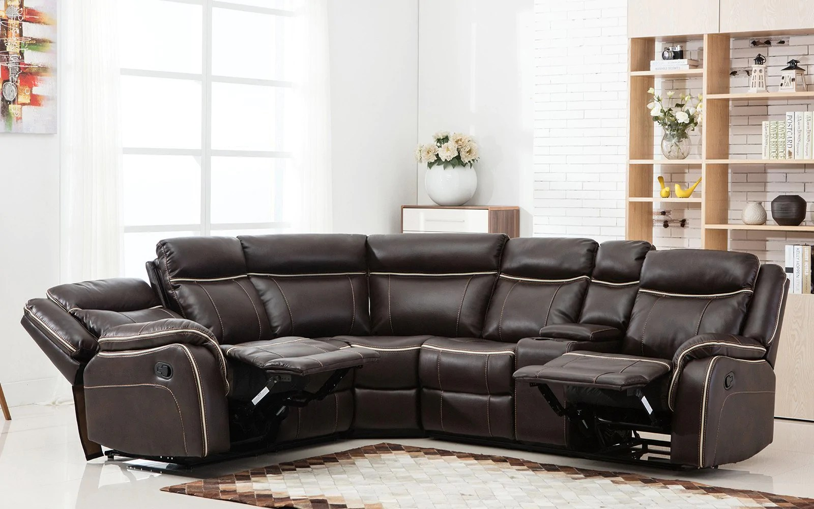 Lounge Reclining Chaise Sectional Leather