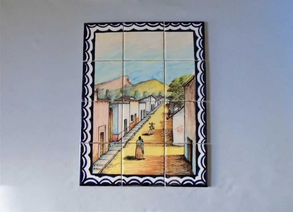 vintage mexican talavera tile mural village street scene