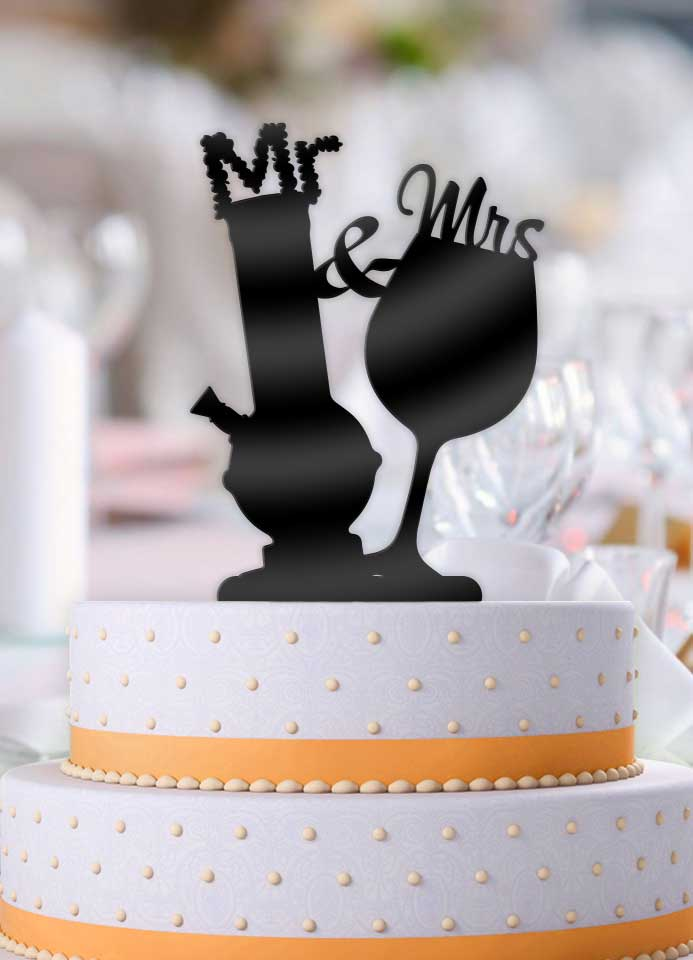 Mr and Mrs Bong and Wine Glass Wedding Cake Topper     Bee3dgifts Mr and Mrs Bong and Wine Glass Wedding Cake Topper   Bee3dgifts