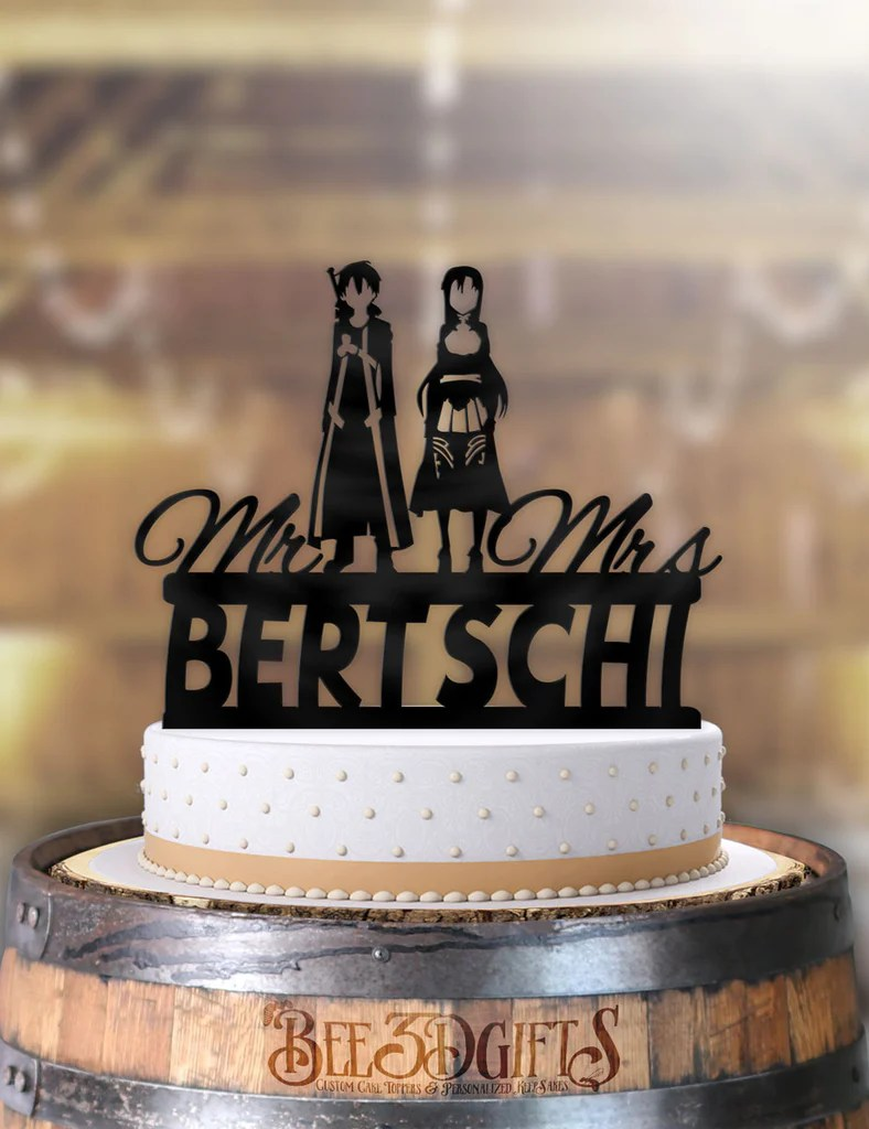 Personalized Sword Art Online Kirito And Asuna With Name Cake Topper