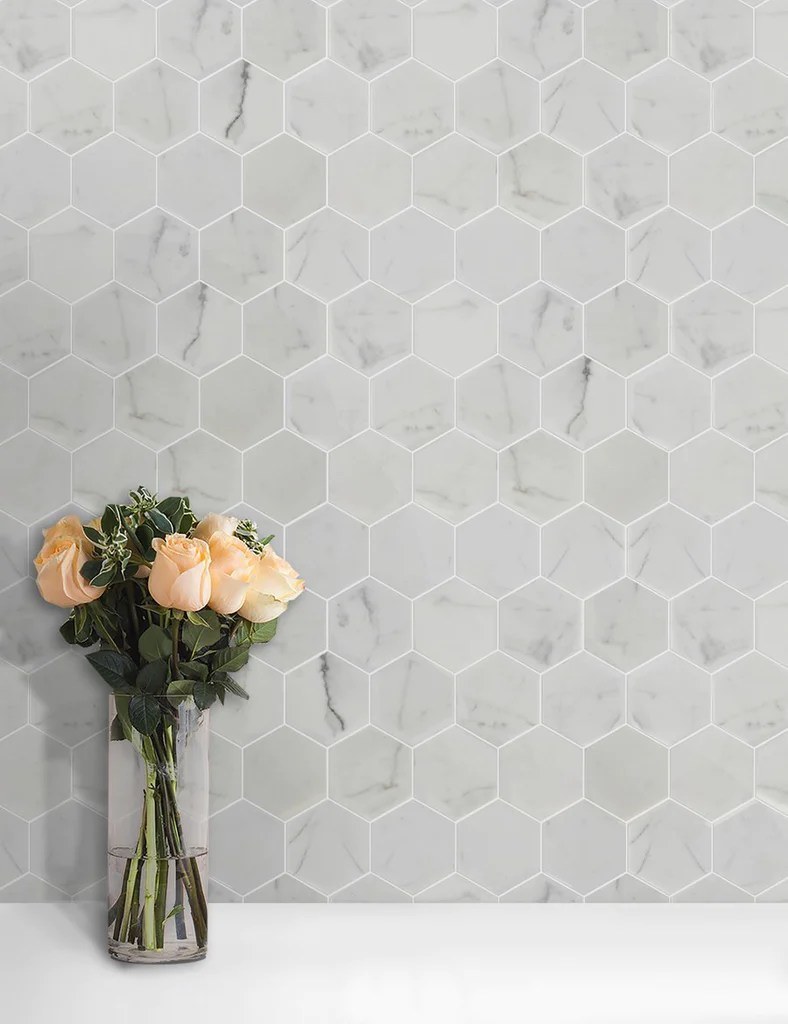 calacatta gold marble mosaic tile in 3 hexagons pattern polished