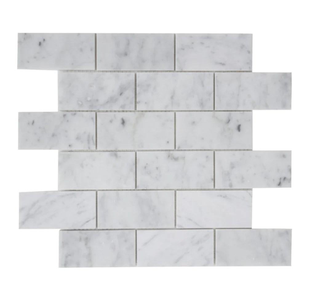 carrara white marble mosaic tile in 2x4 mini brick subway tiles pattern polished