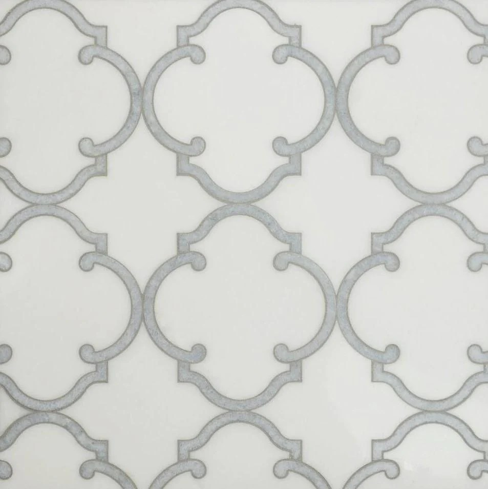 white thassos and blue celeste marble waterjet mosaic tile in moroccan marrakesh