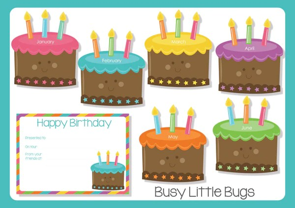 Birthday Cake Birthday Chart Busy Little Bugs