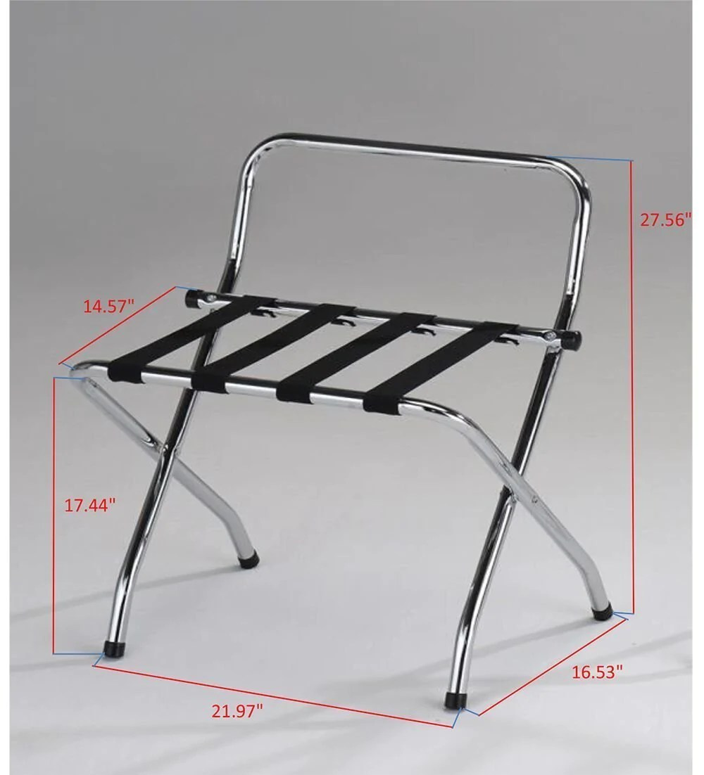 chrome black metal foldable luggae rack stand with high back nylon belts pilaster designs